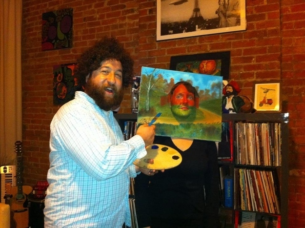 Bob Ross and a Painting Halloween Costume